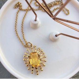Vintage Sun | Gold Tone Necklace Yellow Stone